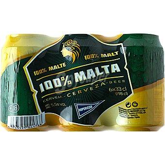 Hipercor Cerveza rubia 100% Malta pack 6 lata 33 cl Pack 6 lata 33 cl