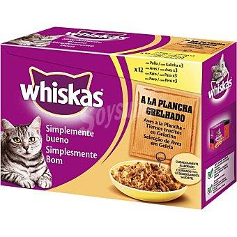 Whiskas Comida para gatos Simplemente Bueno aves a la plancha en trocitos con gelatina para gatos  12 bolsas de 85 g