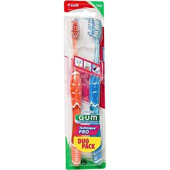GUM Technique PRO cepillo de dientes con cabezal compacto con filamentos suaves Blister 2 unidades