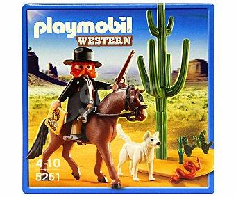 PLAYMOBIL Playset de construcción Western, Sheriff con Caballo, Modelo 5251 1 Unidad