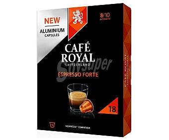 Café Royal Café Espresso Forte Intensidad 8/10 en cápsulas compatible con Nespresso 18 uds
