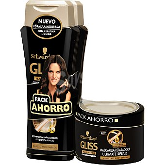 Gliss Schwarzkopf Pack ultimate repair con champú con keratina líquida + mascarilla reparadora tarro 200 ml Pack 2 frasco 250 ml