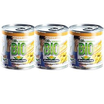 HORTICOALBA Maíz dulce ecológico  3 latas de 120 g neto escurrido