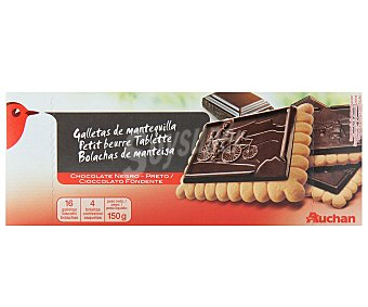 Auchan Galletas de mantequilla con tableta de chocolate negro 150 gramos