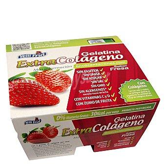 Yelli Fruit Gelatina fresa extracolageno sin azucar pack de 4x100 g