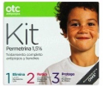 OTC Antipiojos Antipiojos Kit permetrina , loción ,acondicionador y spray , 125+125+125 Mililitros