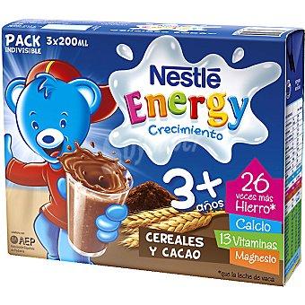 Nestlé Leche Crecimiento Líquida Infantil 3+ con Cereales y Cacao - Estuche 600 ml Pack 3x200 ml
