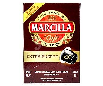 Marcilla Café molido de tueste natural extrafuerte en monodosis 10 unidades 52 gramos