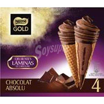 NESTLE GOLD Chocolate Absolut cono con helado de chocolate y laminas de chocolate negro estuche 440 ml 4 unidades