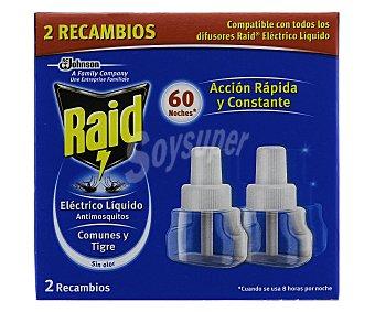 Raid Insecticida volador eléctrico líquido antimosquitos comunes y tigre 60 noches recambio 2 unidades acción rápida y constante 2 unidades
