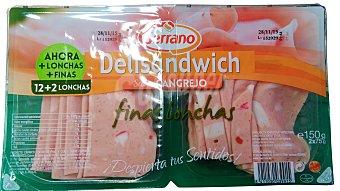 Carnicas Serrano Delisandwich cangrejo lonchas finas Pack 2 x 75 g - 150 g