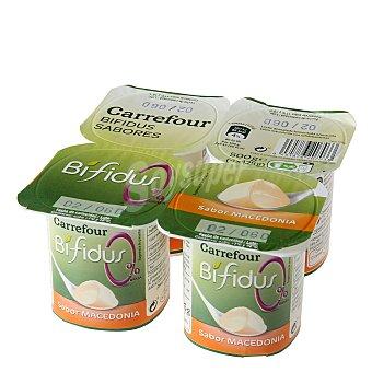 Carrefour Yogur Bífidus sabor macedonia 0% Pack de 4x125 g