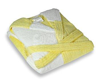 PRODUCTO ECONÓMICO ALCAMPO Albornoz rizo infantil color blanco y amarillo, 340 gramos/m², talla 10 años 1 Unidad