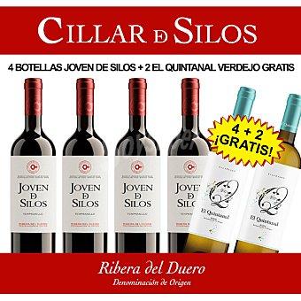 Joven de silos Vino tinto tempranillo D.O. Ribera del Duero caja 4 botellas 75 cl + Gratis 2 botellas de 75 cl de vino blanco verdejo El Quintanal D.O. Rueda 4 botellas 75 cl