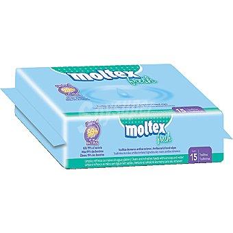MOLTEX Fresh Toallitas de manos antibacterianas Bolsa 15 unidades