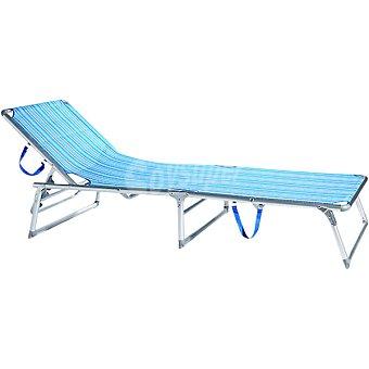CASACTUAL Tumbona Plegable de aluminio a rayas en tonos turquesas