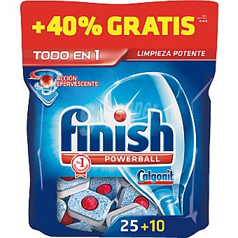 FINISH CALGONIT Detergente lavavajillas Power Ball todo en 1 acción efervescente  Caja 25 pastillas + 10 gratis