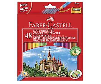 Faber Castell Caja con 48 lápices para colorear con cuerpo hexagonal, mina más resistente y colores mas intensos y brillantes 1 unidad
