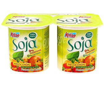 Kalise Yogur zero soja melocoton Pack 4x125 grs