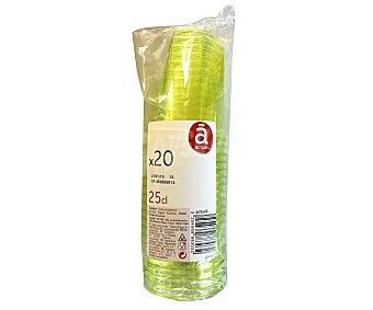 ACTUEL Vasos desechables de plástico color verde anís, 0,25 litros de capacidad 20 unidades
