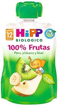 HIPP BIOLOGICO 100% frutas pera plátano y kiwi ecológico  bolsita 90 g