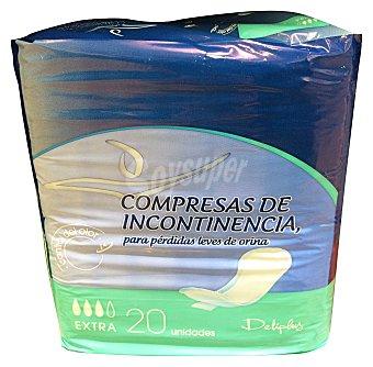 Deliplus Compresa incontinencia extra (absorción 3) Paquete 20 u