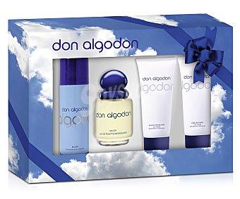 Don Algodón Estuche de mujer con colonia clásica (100 ml), gel (100 ml), body milk (100 ml) y desodorante (200 ml) 1 unidad