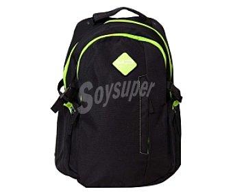 BODYPACK Mochila Escolar con Asas Reforzadas, Multibolsillos con Cierre de Cremallera, Color Negro y Verde 1 Unidad