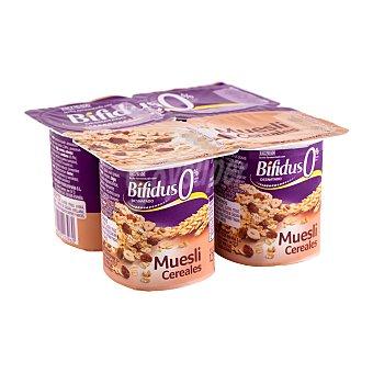 Hacendado Yogur bifidus desnatado fibras trozos cereales y muesli 4 unidades de 125 g (500 g)