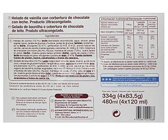 Auchan Bombón helado gigante chocolate con leche Pack de 4 unidades de 120 mililitros