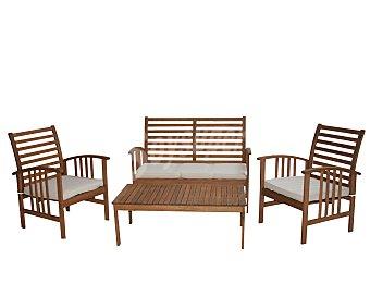 PLOOS Conjunto de mesa 110X60X37, sofá de 2 plazas 118X69X87 y 2 sillones 62x69x87 centímetros, modelo Mykonos, de madera de Acacia 100% FSC 1 unidad