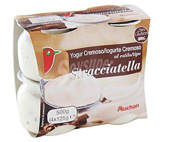 Auchan Yogur cremoso al estilo Stracciatella azucarado con nata y trocitos chocolate Pack de 4 unidades de 125 gramos
