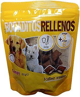 COMPY Comida perro snacks bocaditos rellenos de cereales y carne PAQUETE 80 g