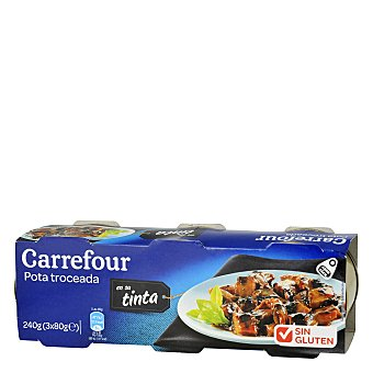 Carrefour Pota troceada en su tinta Pack de 3x80 g