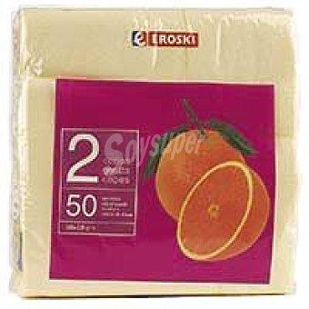 Eroski Servilletas crema 2 capas 38x38 Paquete 50 unid