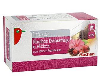 PRODUCTO ALCAMPO Infusiones de rooibos, escaramujo e hibisco con sabor a frambuesa Caja de 25 uds