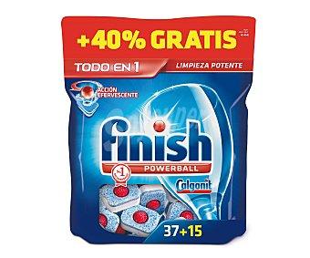 Finish Detergente en pastillas para lavavajillas, acción efervescente (limpieza potente) 52 unidades