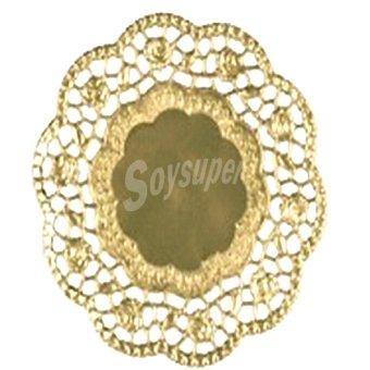 Papstar blonda de papel oro redonda 13 cm  paquete 6 unidades