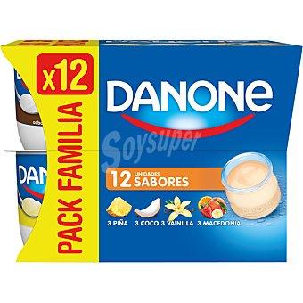 DANONE Yogur sabores 3 coco + 3 piña + 3 vainilla + 3 macedonia 12 unidades de 120 g
