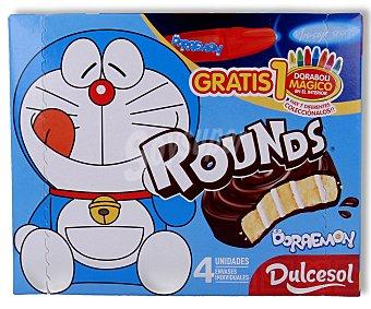 Dulcesol Rollitos recubiertos de chocolate rellenos de leche 4 unidades de 240 gramos