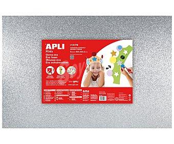 APLI Plancha de foam, goma eva de color plata con purpurina y dimensiones 400x600x2 milímetros 1 unidad