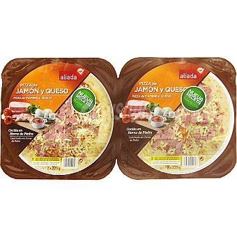 Aliada Pizza mini dúo jamón y queso Pack de 2 u, 225 g