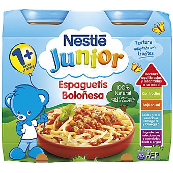 Junior Nestlé Tarrito espaguetis boloñesa 100% natural Pack 2 envase 200 g