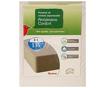 Auchan Protector de colchón 100% algodón, punto liso antiácaros, 135 centímetros Protector 135cm Antiácar