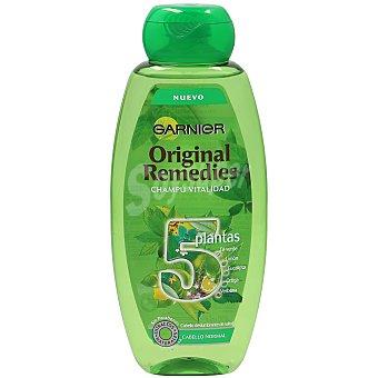 Original Remedies Garnier Champú vitalidad 5 plantas -Té verde, Limón, Eucalipto, Ortiga y Verbena- 400 ml