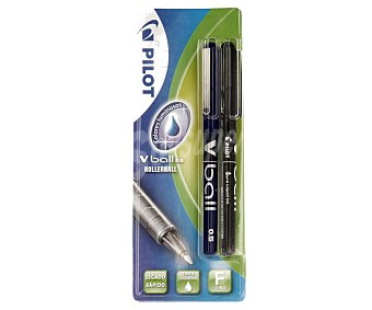 Pilot Lote de 2 bolígrafos del tipo roller, punta fina con grosor de escritura de 0.5 milímetros y tinta líquida negra y azul de secado rápido 2 unidades
