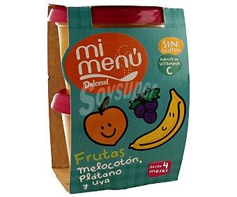 Dulcesol Tarrina de melocotón plátano y uva 2 unidades de 200 gramos
