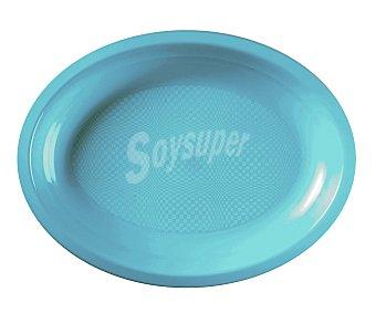 NV CORPORACION Platos ovales desechables de plástico color azul turquesa, 31,5 centímetros 6 unidades
