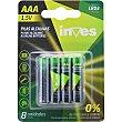 Pila alcalina AAA(LR03) 1,5 voltios 0% mercurio y cadmio blister 8 unidades Blister 8 unidades Inves