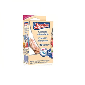 Spontex Guantes finos alimentarios talla M Paquete 20 unidades